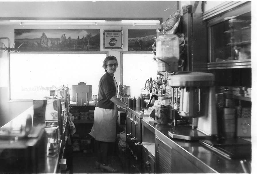 Grandma at her diner, Moody's Drive-In