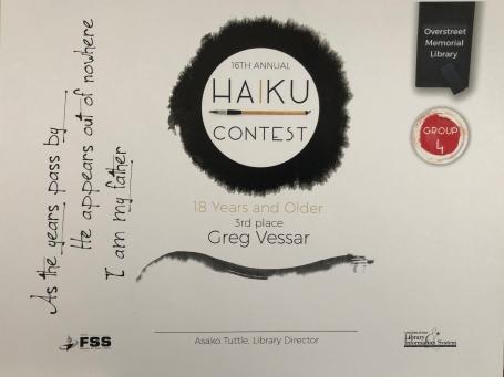 Haiku Contest Third Place!